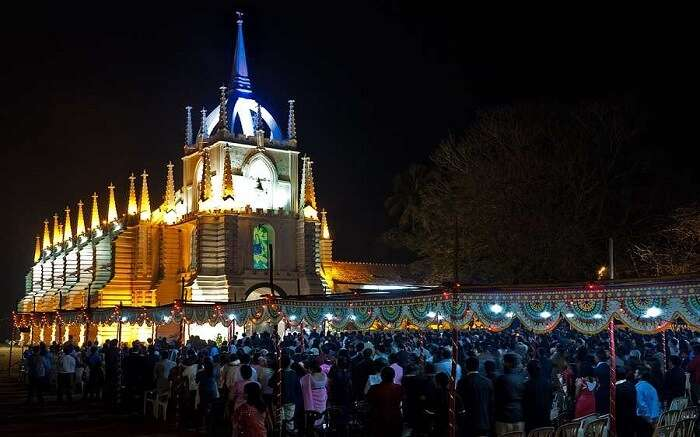 A midnight mass event on being held at a church on the Christmas Eve