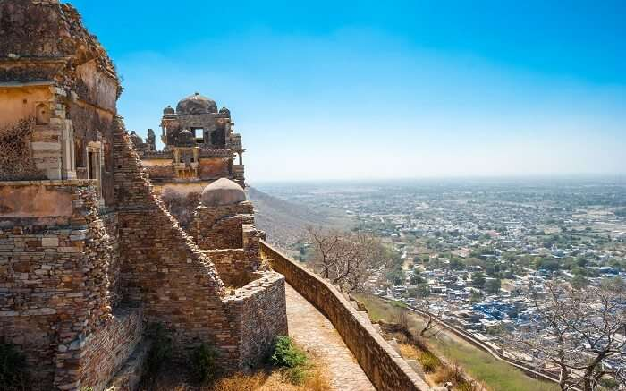 A view of Chittorgarh from the top of Chittorgarh Fort in Rajasthan
