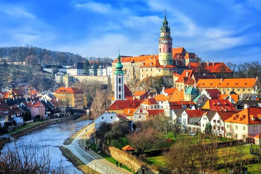 Red tile roofs and towers of the Cesky Crumlov old town, Czech Republic