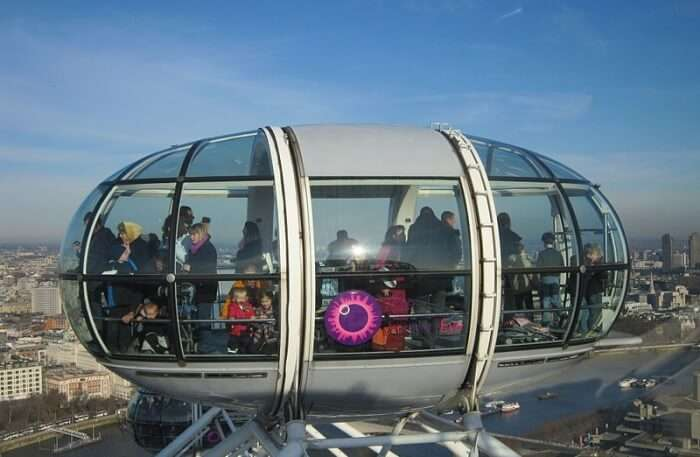 views of London from London Eye in England