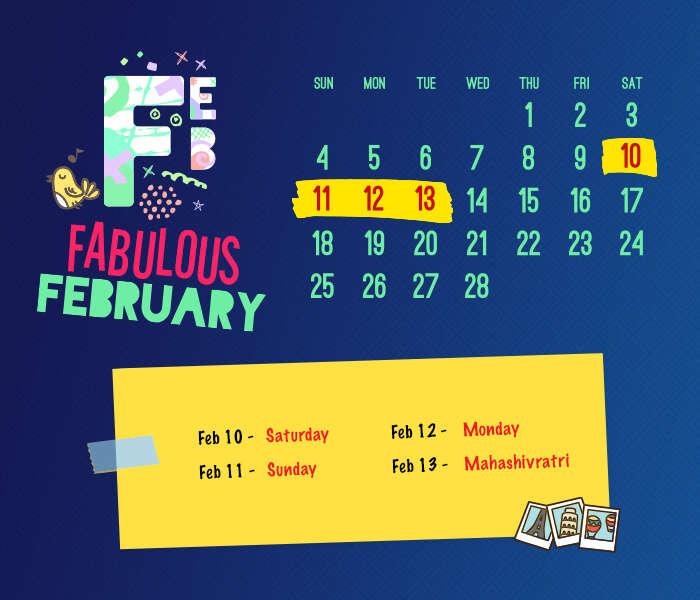 long weekend calendar 2018: February