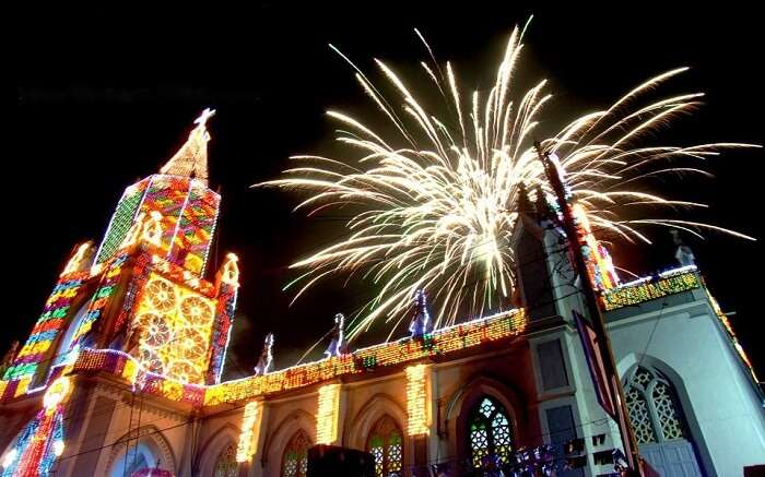 Fireworks in Panjim right above a church