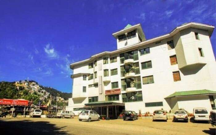 Front view of Asia The Dawn hotel in Shoghi near Shimla