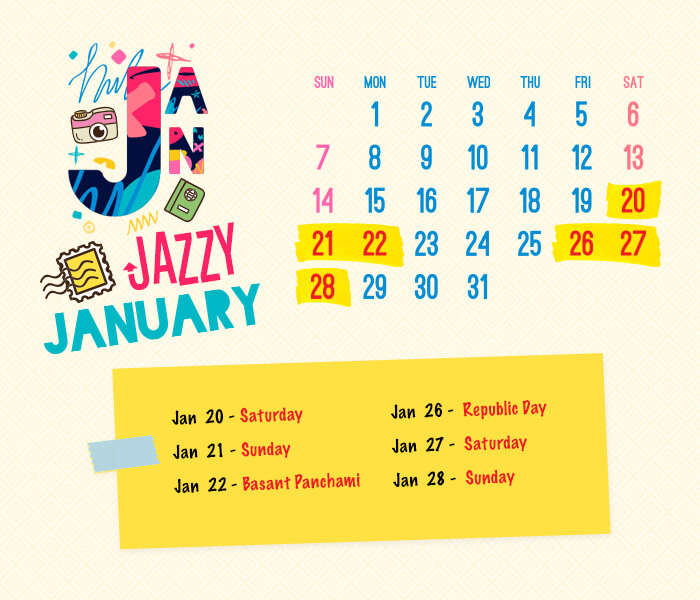 long weekend calendar 2018: January