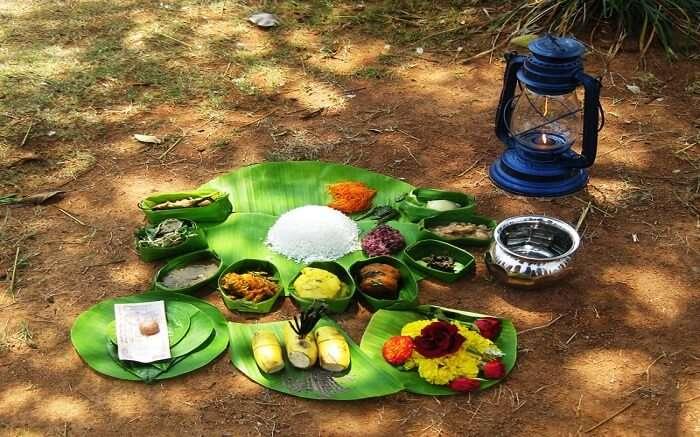 Manipuri food kept on banana leaves