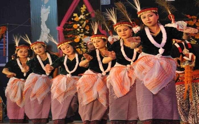 Manipuri women wearing traditional dress during dance s