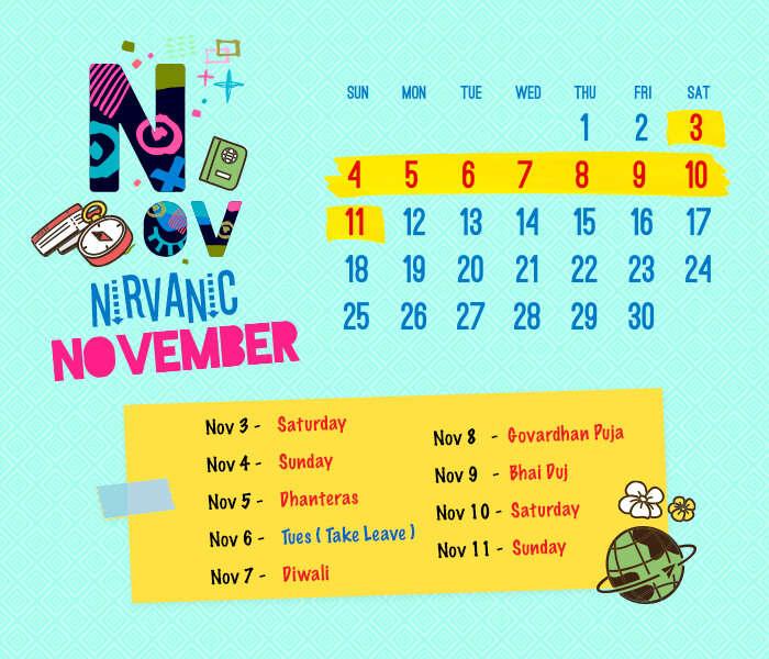 long weekend calendar 2018: November