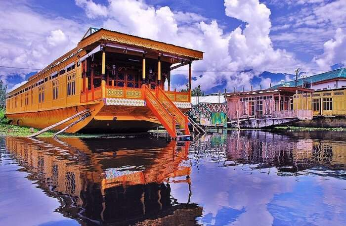 houseboat anchored on Dal Lake in Kashmir, India
