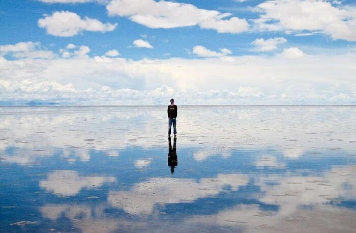 Walk on the salt flats of Salar de Uyuni, Bolivia