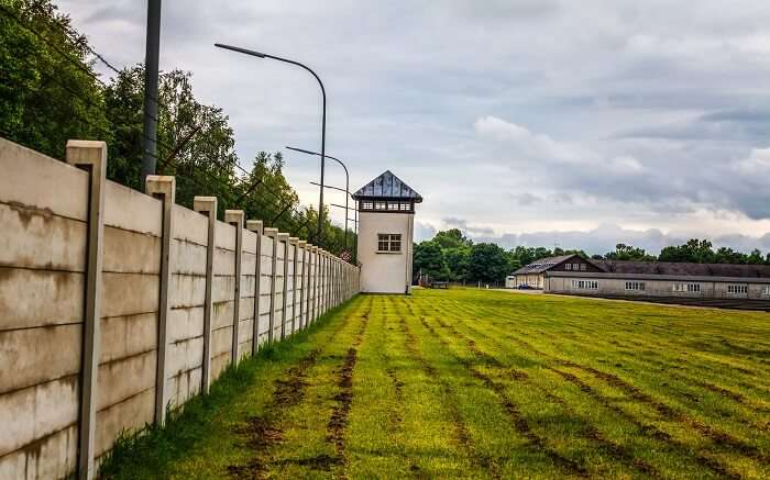 Wall and lobby area of nazi concentration camp