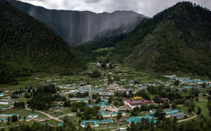 A top view of Haa valley covered in clouds