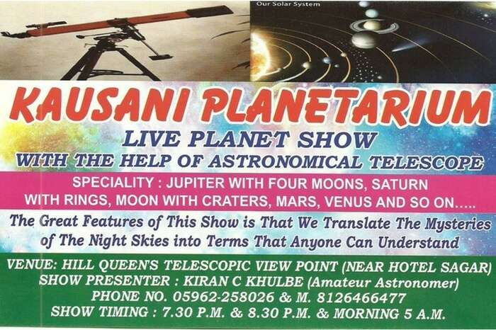 Information board showing time table of Kausani Planetarium