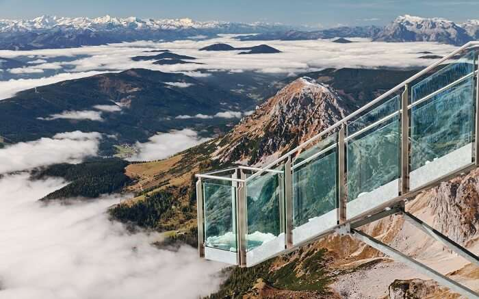 glass platform overlooking beautiful mountains