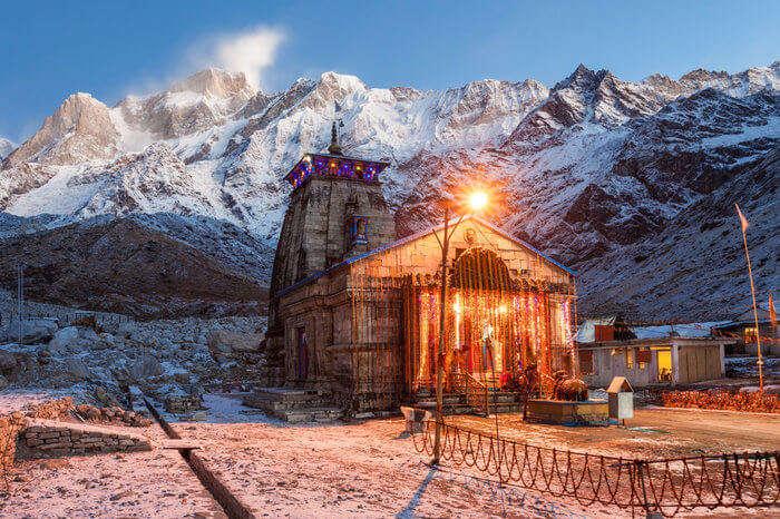 Kedarnath temple lit at night