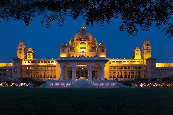 Umaid Bhawan Palace at night