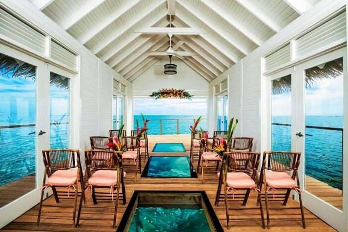 Inside the over-the-Water Chapel at Sandals Resorts