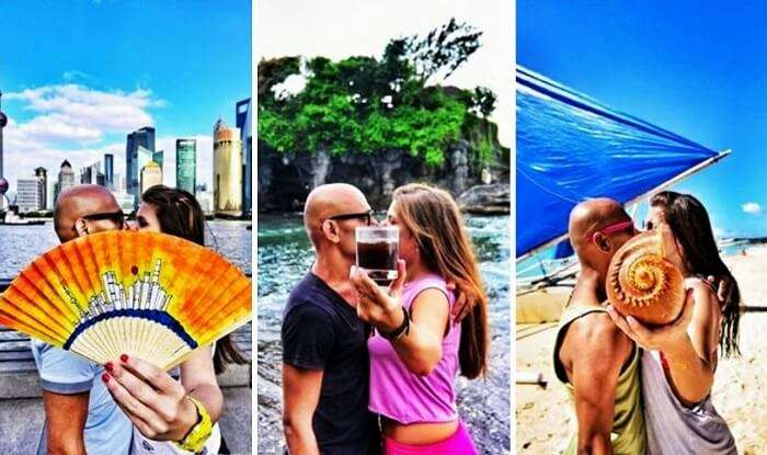 Couple kissing in public around the world