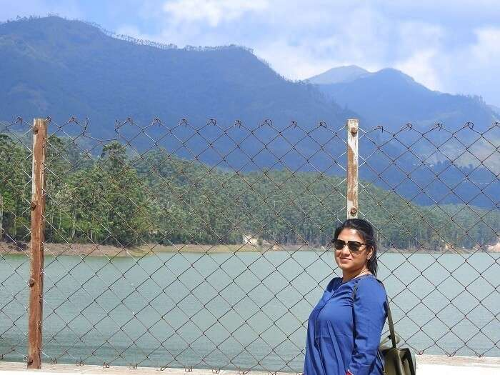 pooja at the dam in munnar