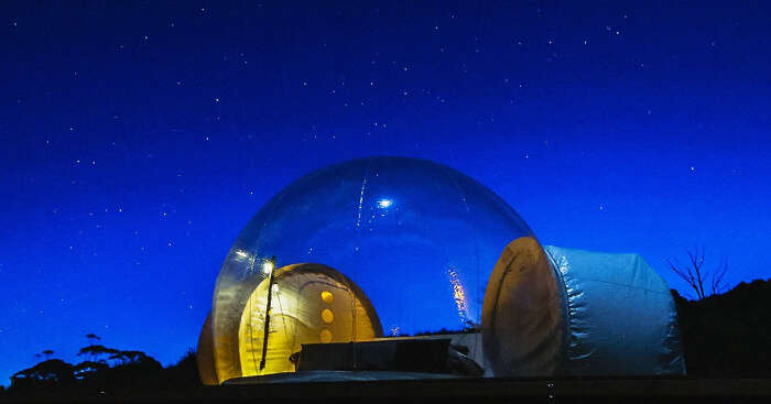 a bubble tent at night