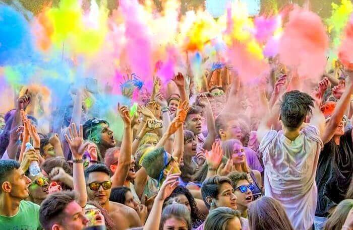 celebrations at Holi pool party event