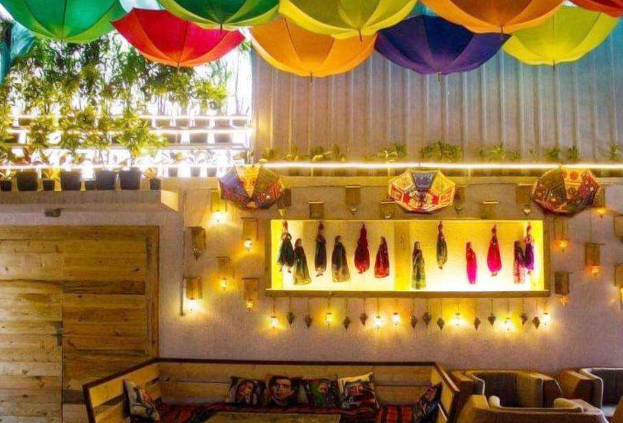 colourful decor of Mudpipe Cafe in Bangalore