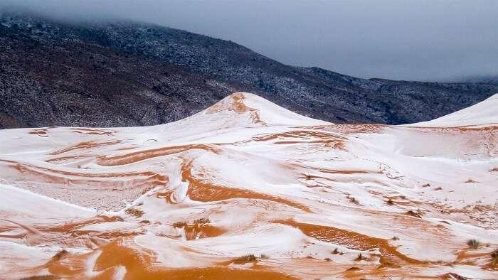 Snowfall in atlas mountains