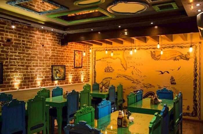 the cosy interiors of The Hudson Cafe, GTB Nagar