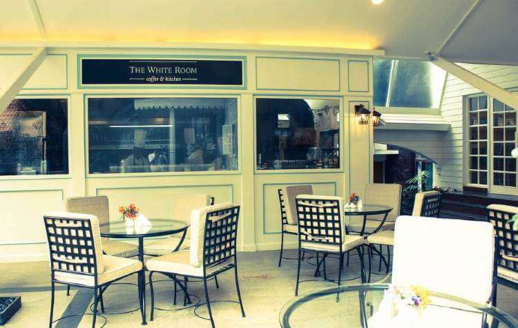 white decor of The White Room Coffee in Bangalore