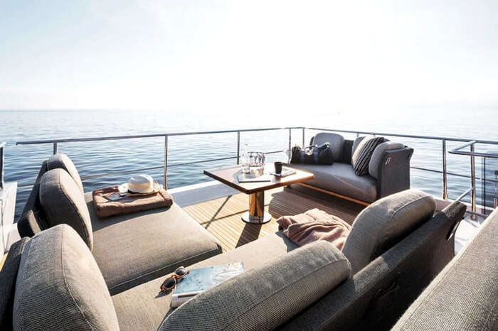 Seating area on luxury yacht Norma