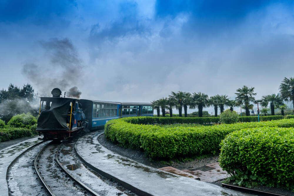 steam engine rail in mountains