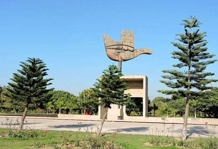 View of open hand monument chandigarh