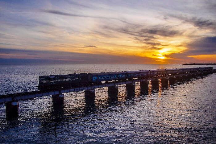 Pamban bridge during sunset