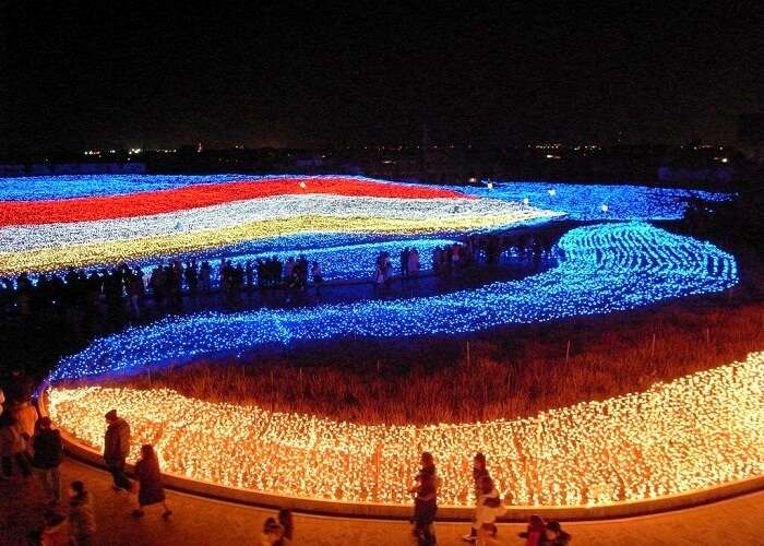 aerial view of tunnel of lights Winter festival Japan