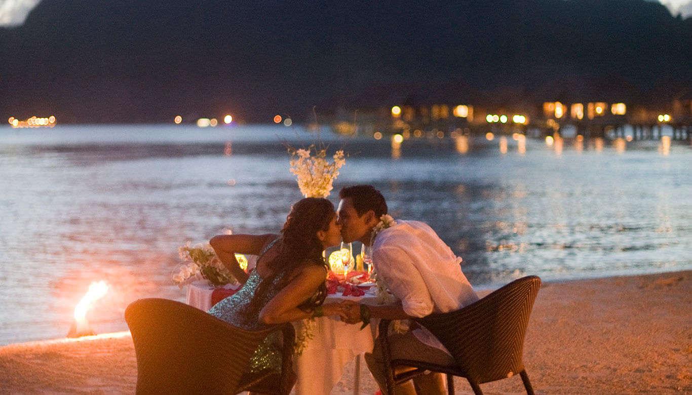 a couple having romantic dinner