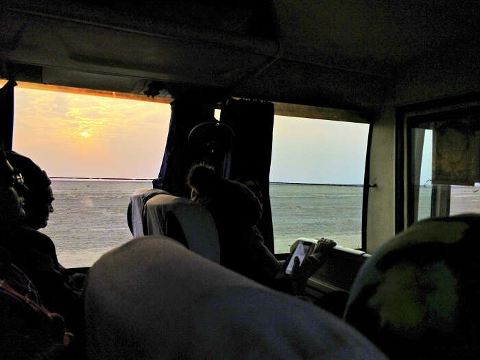 Sunrise from the bus at Rann of Kutch