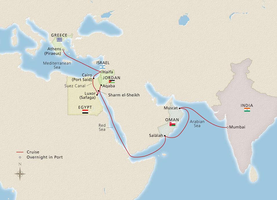 athens to Mumbai cruise route