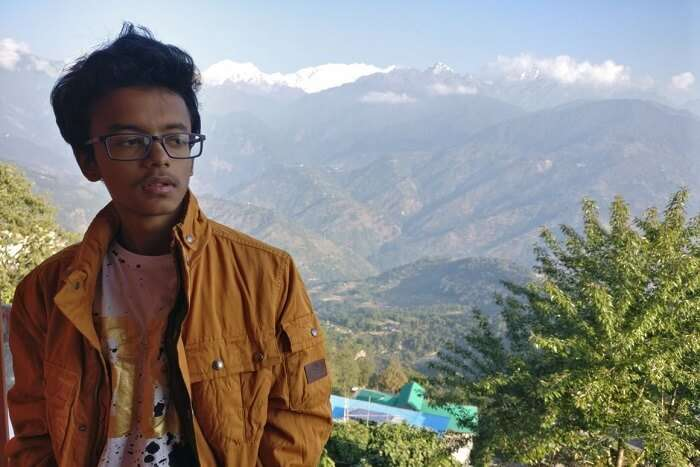 Shantanu northeast trip- posing before hills