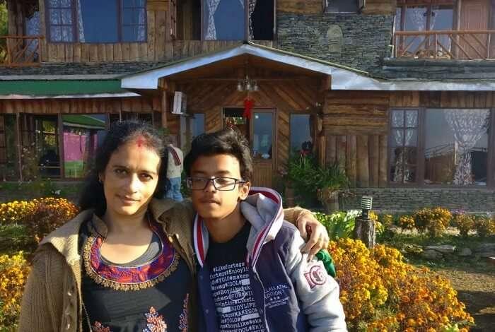 Shantanu northeast trip- posing outside sodizang retreat