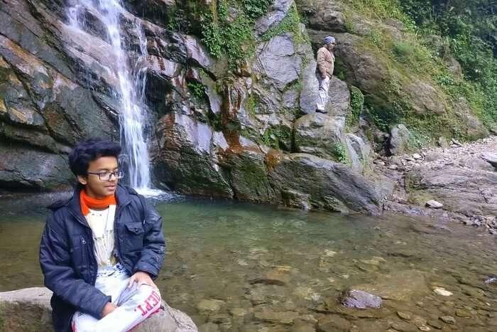 Shantanu northeast trip- posing at Khangchendzonga waterfall