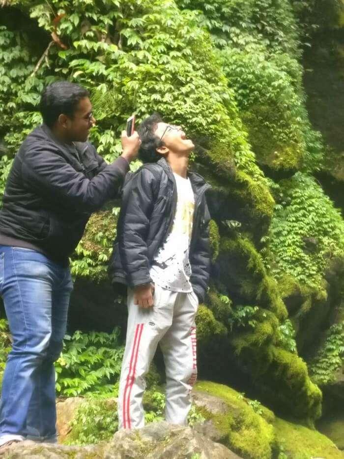 Shantanu northeast trip- posing near greenery
