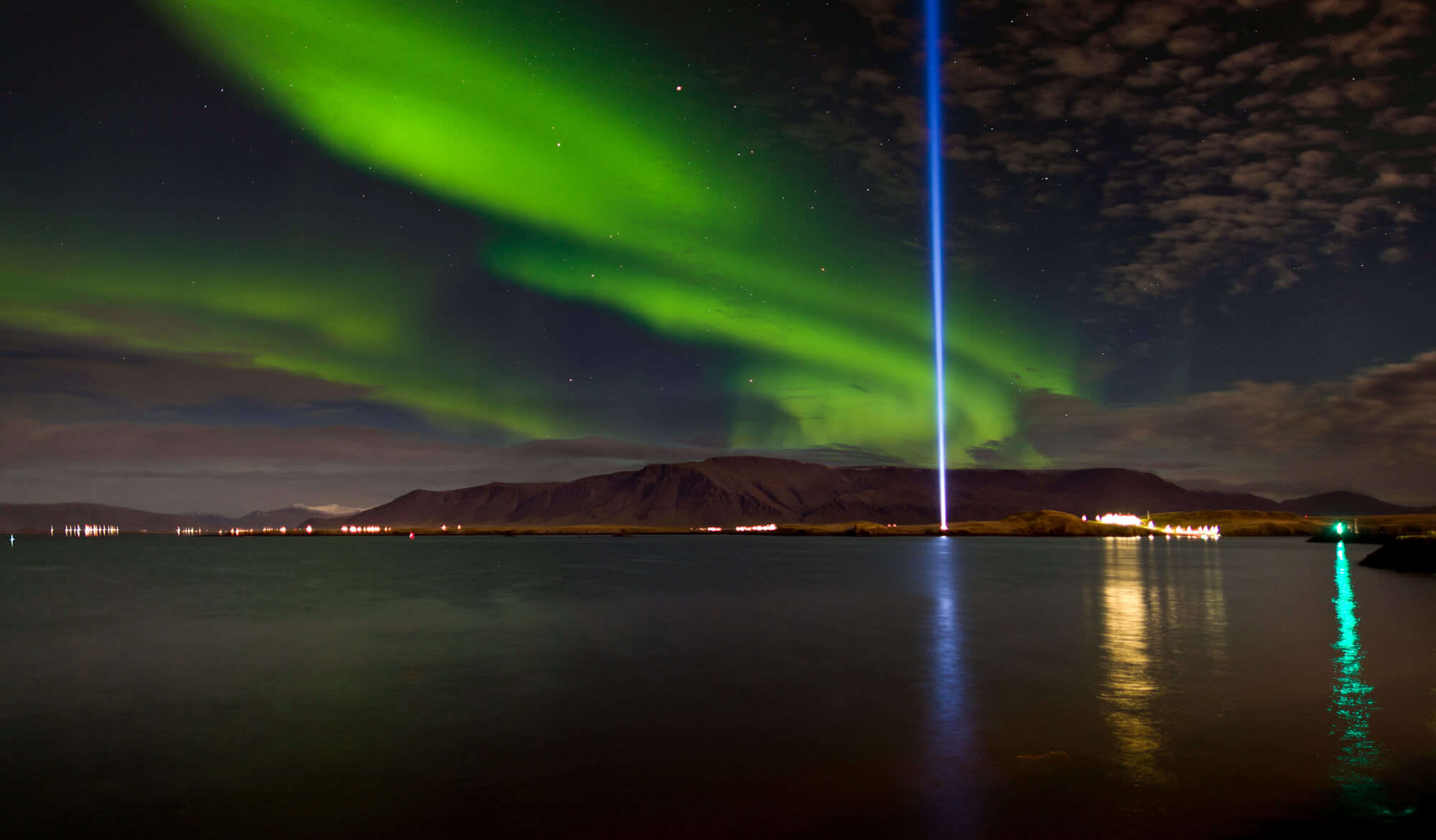 Imagine Peace Tower during northern lights