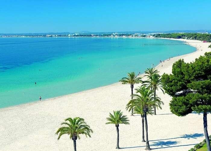 Playa De Alcudia beach in spain
