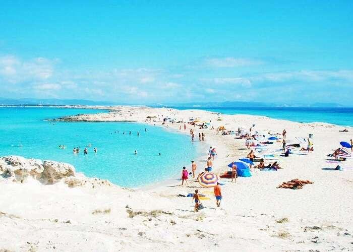 Playa De Ses Illetes beach in spain