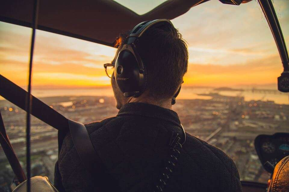 a pilot flying a plane