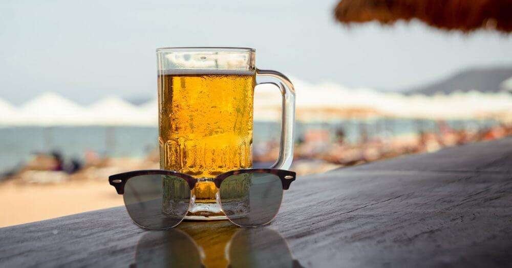 having beer at the beach