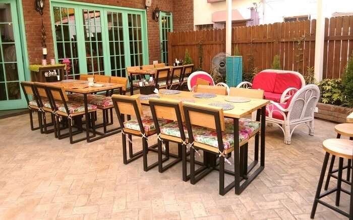 colourful ambience of an outdoor cafe
