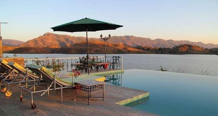 infinity pool in jhadol safari resort