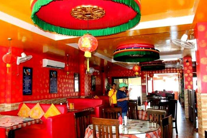 Interior of kalsang friends restaurant Dehradun
