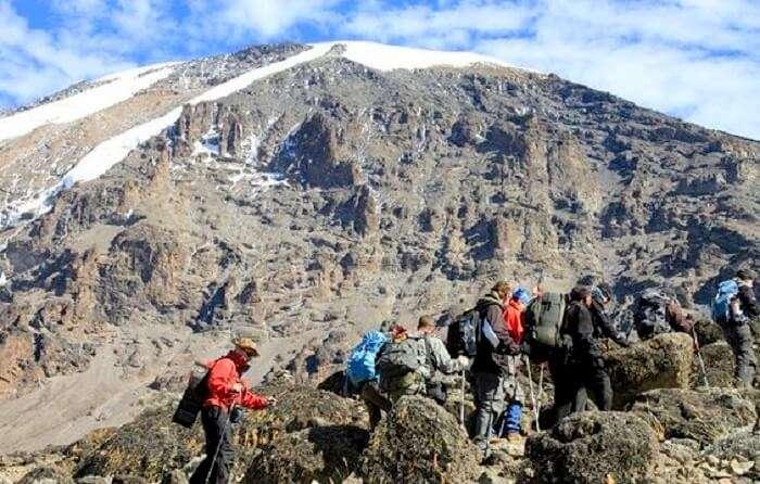 trekkers at lemosho route kilimanjaro