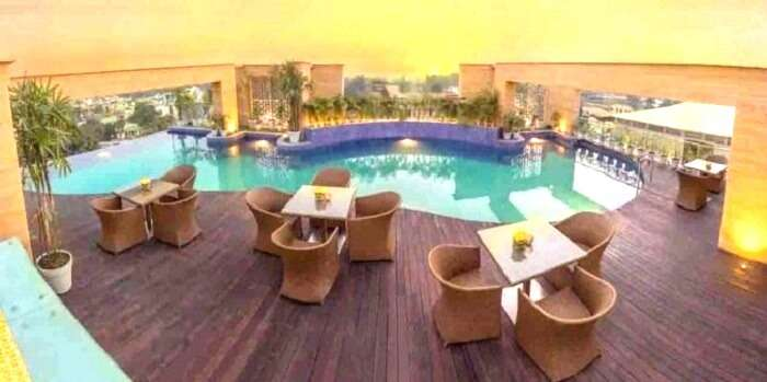 poolside at mirabilia restaurant Dehradun